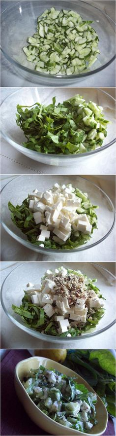 Cucumber, Spinach and Feta Cheese Salad