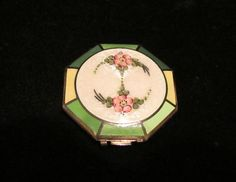 Vintage 1920's Ripley & Gowen Guilloche Enamel Powder Rouge Mirror Compact with Floral Design
