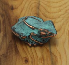 Tree Frog Sculpture  blue green copper patina by EarthlyCreature, $42.00