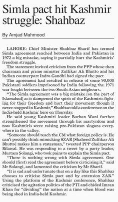 Simla pact hit Kashmir struggle: Shahbaz | ePaper | DAWN.COM