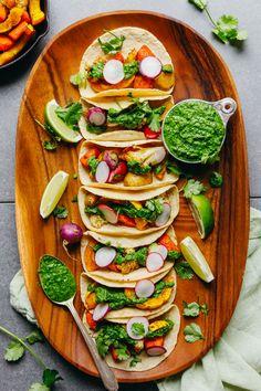 30-Minute Roasted Vegetable Tacos with Chimichurri! BIG flavor, satisfying, HEALTHY! #vegan #glutenfree #plantbased #tacos #chimichurri #cauliflower #minimalistbaker #recipe