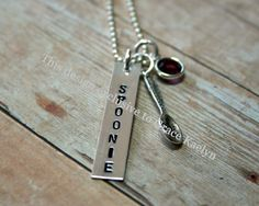 Hand stamped Sterling Silver Spoonie necklace by GraceKaelyn, $47.72