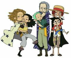 Shanks, Benn Beckman, Yasopp, Monkey D. Luffy, Roronoa Zoro and Usopp One Piece Anime, One Piece Comic, One Piece Fanart, One Piece Pictures, One Piece Images, Manga Anime, Es Der Clown, One Piece Funny, The Pirate King
