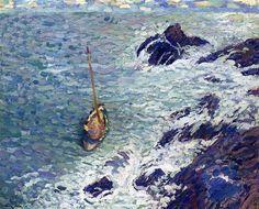 Boat+near+Cliffs+-+Henri+Martin