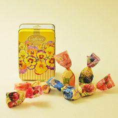 ピーチ、ダークチェリー、洋ナシ、りんご、メロン味。【Caffarel カファレル】 ビオラ缶 キャンディ