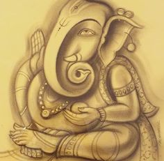 charcoal ganesha in old paper Ganesha Painting, Ganesha Art, Lord Ganesha, Jai Ganesh, Figure Sketching, Pencil Sketching, Pencil Drawings, Ganpati Drawing, Ganpati Bappa Wallpapers