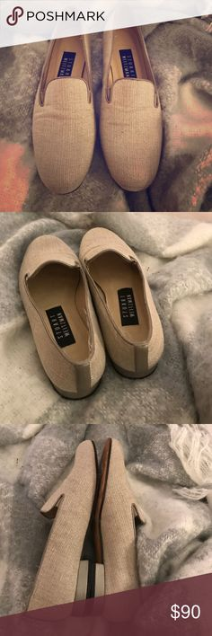 Stuart Weitzman loafers Great for the holidays. Has shimmer, light gray stiff ridged material. A cross between creamy gray. Trimmed in silver. Stuart Weitzman Shoes Flats & Loafers