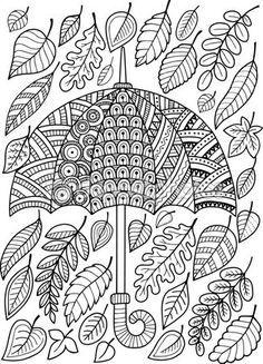 Me encanta la lluvia de otoño. Libro para colorear para adultos — Vector de stock #105460472                                                                                                                                                                                 Más