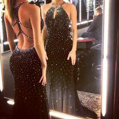 Luxurious black mermaid prom dresses with full beaded Diamond Prom Dresses, White Mermaid Prom Dress, Diamond Dress, Gala Dresses, Homecoming Dresses, Evening Dresses, Lovely Dresses, Elegant Dresses, Black Gala Dress