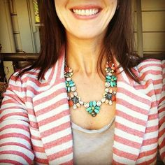 cute stripey blazer that picks up on the red in the necklace