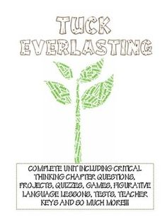 Printables Tuck Everlasting Worksheets pique student and tuck everlasting on pinterest a complete unit aligned with the common core focuses figurative language