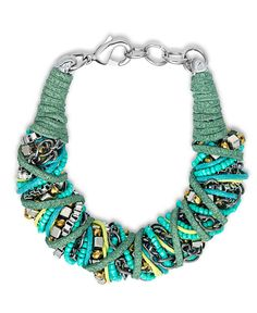 Turquoise Suede and Bead Necklace