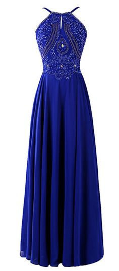 Royal Blue Prom Dress with Thin Strap, Prom Dresses, Graduation Party Dresses, Formal Dress For Teens, BPD0404