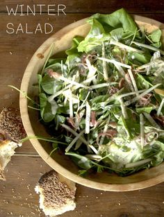 Winter Salad/ Poppy seeds Boston lettuce Watercress Bosc pear Shallots /Caitlin Levin