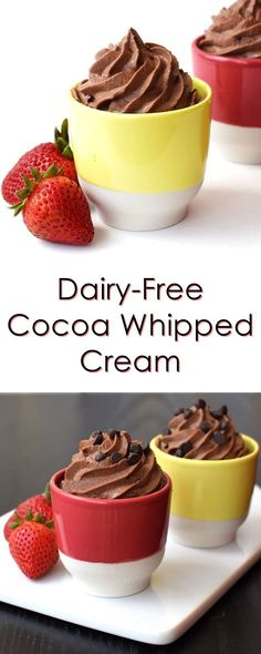 Chocolate Whipped Cream or Topping Dairy-Free Chocolate Whipped Cream Recipe - vegan, soy-free and easy!Dairy-Free Chocolate Whipped Cream Recipe - vegan, soy-free and easy! Dessert Sans Gluten, Gluten Free Desserts, Dairy Free Recipes, Vegan Gluten Free, Vegan Recipes, Paleo, Dessert Recipes, Nutella Recipes, Dairy Free Icing