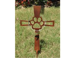 Pet Memorial Cross Garden Stake - Dog - Metal Yard Art - Metal Garden Art - Metal Cross - Rusty - Design 1