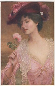 BEAUTIFUL LADY ABOUT TO SMELL A ROSE Vintage Art Postcard