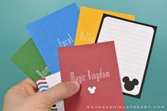 Free Disney Journaling Cards - great for Project Life style albums
