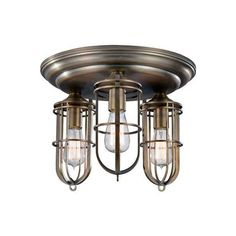 Feiss FM378 Urban Renewal 3 Light Flushmount Ceiling Fixture Dark ($277) ❤ liked on Polyvore featuring home, lighting, ceiling lights, ceiling fixtures, dark antique brass, flush mount, indoor lighting, incandescent lights, feiss lamps and feiss lighting