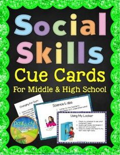 Social Skills Cue Cards - Social Skills Reminder CardsThese social skills cue cards for middle and high school include 30 different prompts for students who need extra support and reminders during social and school situations. They are great for young adults with autism, ADHD, Oppositional Defiant Disorder, and other behavioral, emotional, or learning challenges.