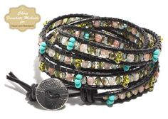 Learn how to make a stylish wrap bracelet using leather cord, glass beads, and beading thread.