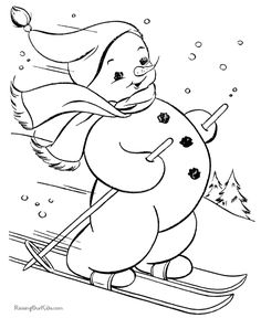 Winter Snowman Coloring Pages | Printable Christmas coloring pages - Skiing snowman!