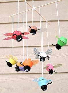 """bug mobile made from egg carton... maybe fun spring craft to make them hang off of fan and """"fly"""""""