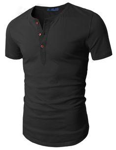 20$ Doublju Men's Henley T-Shirt w/ Short Sleeve, Black, ASIA M (US S)