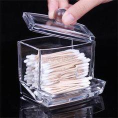 Clear Acrylic q-tip Holder Box coton-tiges bâton stockage cosmétique de maquillage organisateur femmes boîte de poudre livraison gratuite(China (Mainland))