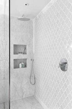 Mosaic Tile Ashbury in White - shower design White Bathroom Tiles, Bathroom Tile Designs, Bathroom Flooring, Bathroom Ideas, Bathroom Remodeling, Remodeling Ideas, Bathroom Organization, Bathroom Mirrors, Bathroom Tubs