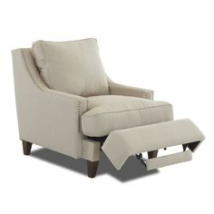 Wayfair Custom Upholstery Tricia Power Hybrid Recliner Chair condo by leayag Modern Recliner Chairs, Rocker Recliner Chair, Leather Recliner, Nursery Recliner, Recliner Cover, Swivel Chair, Chair Cushions, Furniture Styles, New Furniture