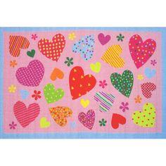 Hearts Fun Kids Rug ~ Pink