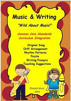 """***$5.00*** Curriculum integration tool Original song, """"Wild About Music!""""  An easy Orff arrangement Three Writing Prompts for 2nd – 5th are included. Drawing Prompts for K & 1st  An easy Word Find puzzle •Original Song – """"Wild About Music!"""" Melody line with chordal accompaniment •Song Sheet  •Teaching Suggestions •3 Writing prompts (Grades 2nd -5th) •3 Drawing/Writing prompts (Grades K-1st) •Word Find Puzzle  •Rhythm patterns •Orff arrangement"""