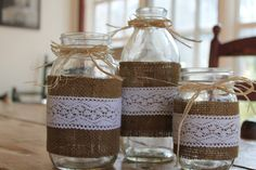 Mason jars with Burlap and Lace