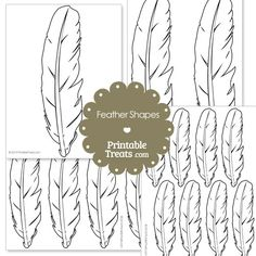 Printable Feather Shape Templates