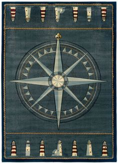 Details About Blue Nautical Carpet Nautical Compass Lighthouse Nautical  Rope Olefin Area Rug