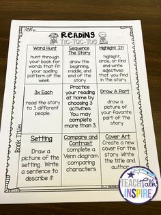 Reading Tic Tac Toe Menus-a new approach to homework and book in the bags!