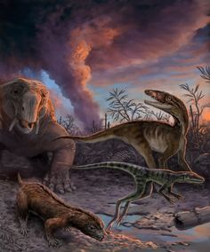 Animals escape from an erupting volcano 235 million years ago in northwestern Argentina, including early mammal relatives (the dicynodont Dinodontosaurus in the left background, and the cynodont Massetognathus in the left foreground) and early dinosaur precursors (Lewisuchus in the right background, and Lagerpeton in the right foreground). (Victor Leshyk)