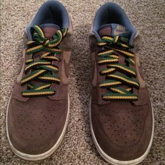 Woman's Nike Dunks Fun! Rasta/hemp colored Nike's. Gently used! No trades
