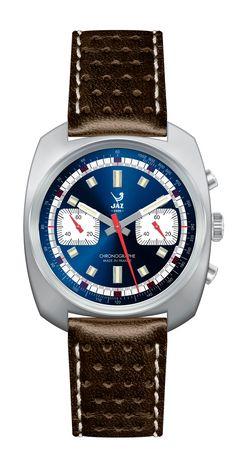 Montre vintage homme chronographe - CHRONOJAZ - JZ 180-2 - bracelet en cuir imprimé marron, surpiqures blanche, cadran en métal couleur acier et cadran bleu et boiter argent - Boutique Officielle JAZ - un savoir-faire horloger made in France depuis 1919.