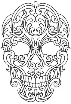 Scrollwork Skull   Urban Threads: Unique and Awesome Embroidery Designs