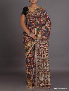 Nikita Blooming Naturally Dyed And Hand-Painted #KalamkariPureCottonSaree