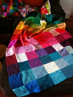 Multicolor blanket. This is a perfect blanket to make with all of the extra yarn I have from previous projects!