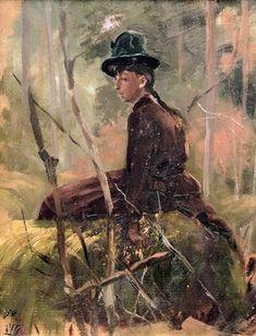 Torsten Gideon Wasastjerna (Finnish, 1863-1924) - GIRL IN FOREST , um 1880 - 1889 Painting, Art, Art Background, Painting Art, Kunst, Paintings, Performing Arts, Painted Canvas, Drawings