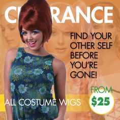 All costume wigs are being cleared for as little as $25