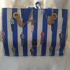 """100% Authentic MCM  Royal Blue/White Stripe purse! 100% Authentic RARE Vintage MCM  SATIN Royal Blue/White Stripe Tote/Purse!!  Gold Hardware. In EXCELLENT CONDITION!! Very Cute Great for collectors!! Secure in a dust bag. NEVER USED. Strap Drop 16"""" Width 13"""" Depth 4"""" Height 9.5 True Original!! MCM Bags Shoulder Bags"""
