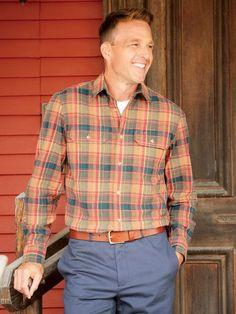 Canvas Shirts, Casual Outfits, Men Casual, Brown Pants, Men's Apparel, Cotton Canvas, Core, Plaid, Autumn