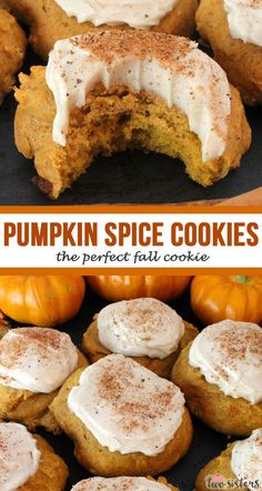 Pumpkin Spice Cookies with Cinnamon Cream Cheese Frosting - Two Sisters - Looking for Fall Cookies? You gotta try these delicious Pumpkin Spice Cookies – they really are - Pumpkin Spice Cookies, Fall Cookies, Pumpkin Spice Latte, Pumpkin Cookie Recipe, Cinnamon Cookies, Fall Cookie Recipes, Fall Recipes, Fall Dessert Recipes, Recipes For Pumpkin