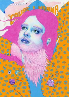 Deap Vally x Natalie Foss Musician Anna Bulbrook (The Bulls, Airborne Toxic Event, and Edward Sharpe & the Magnetic Zeros) Collage Magazine, Modern Painting, Portrait Illustration, Photo Projects, Community Art, Art Inspo, New Art, Cool Art, Art Drawings