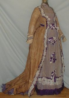 Regal 1870-1880 Stripe Gold  Lavender Silk Bustle Dress
